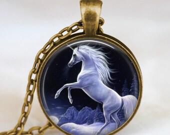 Unicorn dark night necklace , Magical Unicorn pendant , Unicorn jewelry ,  fantasy necklace, whimsical jewelry, art pendant