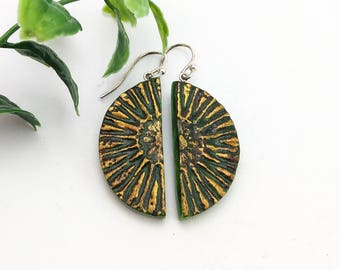 Beach bohemian earrings Green brown and gold geometric clay jewelry Half circle dangle earrings Tribal Hippy jewelry Kale Forest Pine color