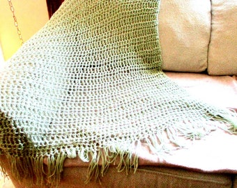 Throw Blanket Sage Green Handmade, Solid knit Crocheted Blanket, Home Decor, Interior Design,  Light Weight Lacey Design, MADE TO ORDER