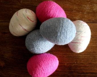 Easter Eggs | Yarn Eggs | Pink Blue & Speckled Beige Reusable Easter Eggs