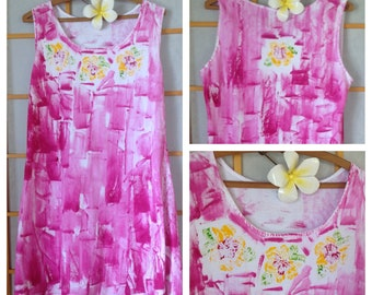 Hawaii Dress Plus Size Cover Up Floral Dress Woman Fashion Hand Painted Pink Dress