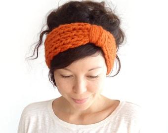 Chunky Knit Turban Headband // Knitted Headband // Turban Headband // Winter Earwarmers // Autumn Fall Headband // Pumpkin Orange