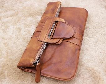 Gift,Leather Clutch, Leather Wallet, Leather Handbag, Evening Clutch, Leather Crossbody Bag, Brown Leather Bag, Leather Shoulder Bag
