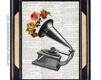 GRAMOPHONE art print wall decor Victorian Retro Music Musician Romantic Song with roses on vintage dictionary text book page 8x10, 5x7