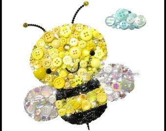Cute Bumble Bee Decorations Bee PRINTS Bee Nursery Bees Giclée Prints Gender Neutral Nursery Honey Bee Wall Art Nursery Bugs Black & Yellow