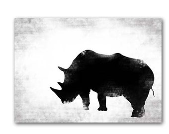 Black & White Rhino - Fine art print, Rhinoceros silhouette, rhino animal, print black rhino