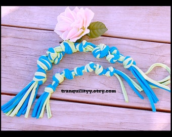 Dog Chew Toy Set, Up cycle , Recycle , Turquoise and Lime Jersey Knit Small -Med Doggie Chew Toy, Handmade By: Tranquilityy