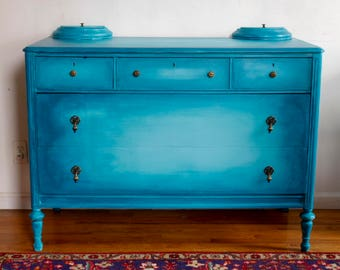 SOLD! Antique Dresser, Vintage Dresser, shabby chic dresser, Turquoise / Teal Dresser, painted dresser, Dresser with Jewelry Boxes, Free NYC