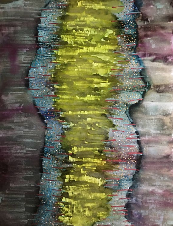 """Original Alcohol Ink (Mixed Media) Abstract Painting: """"Frequency"""" (11"""" X 14"""")"""