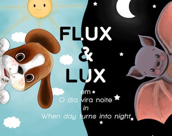 E-BOOK and Paper Dolls Flux&Lux - When day turns into night | Bilingual EPUB and PDF for download | Story about friendship | Small children
