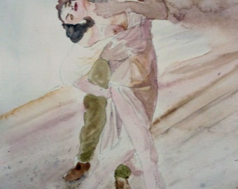 a sensual dance original watercolor painting