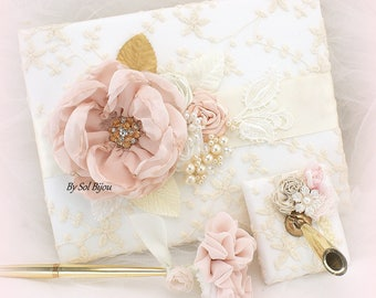 Wedding Guest Book Ivory Blush Pink Gold Lace Guestbook Pen Signature Book for Guests Memory Book Baby Shower Vintage Style