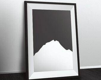 Minimalist Mountain Print, Gray Mountain, Printable Mountain Art, Digital Prints, Home Decor, Printable art, Instant Download,Mountain Decor