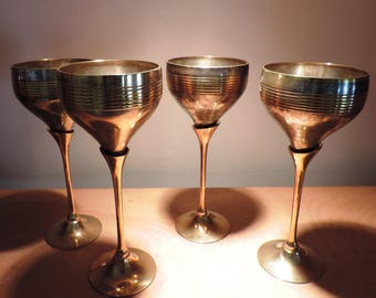 Vintage set of 4 Goblets Cups in Silver and Brass, Barware,