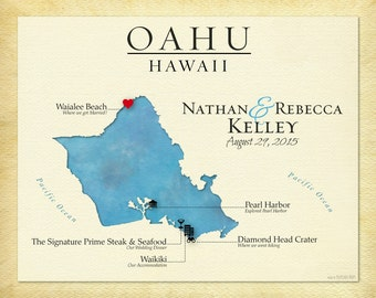 Map of Oahu, Travel Map of Hawaii, Personalized Wedding Gift, Anniversary Present, Gift for Couple, Travel Gift, Gift for Spouse, Any Island