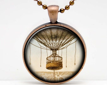 Vintage Style Hot Air Balloon and Basket  Art  Glass Pendant or Key Chain- 30 mm round- Chain Included- Made to Order