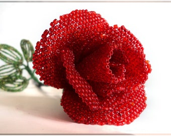Beaded rose artificial flower in mosaic weaving technique for wedding bouquet or unusual gift