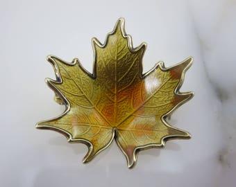 Enamel Leaf Brooch - Scandinavian, Hroar Prydz Norway, Mid Century Modern, Sterling Silver
