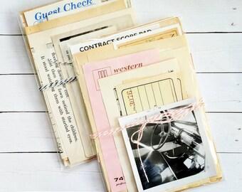 Mini Paper Pack / Vintage / 20 Pieces / Inspiration Kit / Vintage Ephemera / Paper Ephemera / Planner Supply