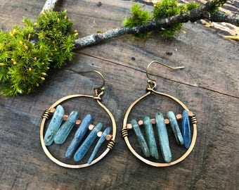 Earrings - Hammered Copper & Kyanite