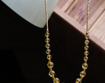 Yellow Topaz Crystal Gold Necklace