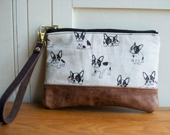 leather clutch, leather wristlet, leather bag, leather purse, evening clutch, clutch bag, french bulldog, dog lover