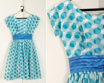 1950s polka dot dress - turquoise and white chiffon