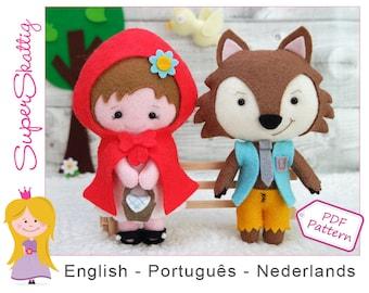 Felt pattern Little red riding hood and wolf, Softie pattern doll, plush pattern fairytale, pdf sewing pattern by Superskattig
