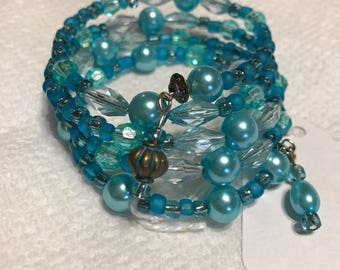 Black Friday Sale!  Turquoise colored beaded wrap bracelet