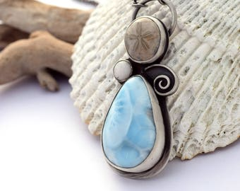 Unique, One of a Kind Ocean Inspired Pendant Necklace, Oxidized Silver, Larimar Necklace, Fossil Necklace, Sterling Silver, Ocean Jewelry
