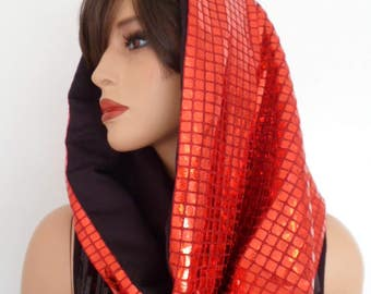 red sequin snood, festival hood, hologram snood, red sequin scarf, festival clothing