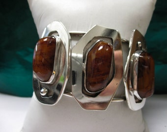 ONE Sterling Silver Agate Stone Bracelet/ Cuff Bracelet
