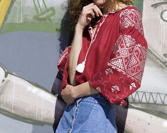 Vyshyvanka embroidered linen blouse, Boho chic blouse. Folk top. Ukrainian blouse vyshyvanka Free shipping. Linen blouse. Ukraine