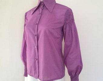 Vintage 1960s 1970s Purple Cotton Long Sleeve Shirt with Ruched Shoulders & Cuffs - Boho Hippie