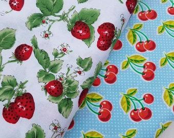 Strawberries or Cherries Cotton Fabric