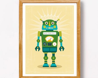Green Robot on a Yellow Background | Robot Art for Kids | Robot Artwork | A4 Size | Letter Size | Digital File