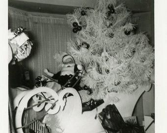 "Vintage Photo ""Little Santa is Watching"" Snapshot Antique Black White Photograph Paper Found Ephemera Vernacular Interior Design Mood - 104"