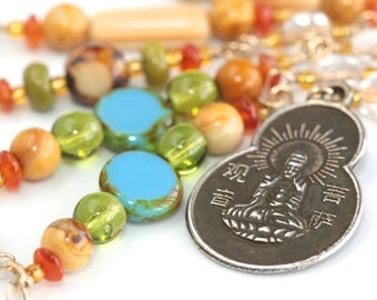Carnelian Necklace * Opal Necklace * Spiritual Necklace * Spiritual Jewelry * Oriental Jewelry * Colorful Necklace......*Divine Confessions*