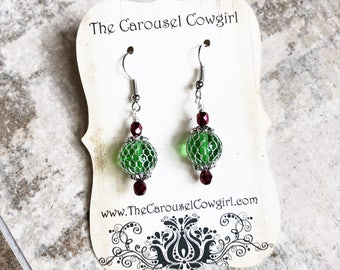 Christmas Ornament Earrings, Red and Green Earrings, Caged Glass Christmas Earrings, Christmas Earrings, Holiday Earrings, Festive Earrings