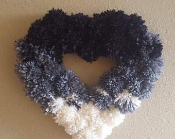Gray ombré Pom Pom heart wreath