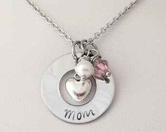 Personalized Mothers Day Keepsake Necklace with Heart Birthstone and Pearl/gift for mom/mothers day/heart necklace
