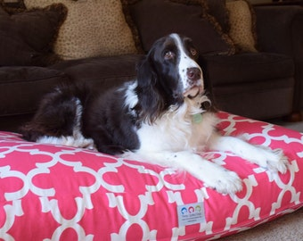 Pink Quatrefoil Dog Bed || Custom Large Custom Pillow Cover  Personalize with Your Pups Name || Puppy Dog Gift by Three Spoiled Dogs