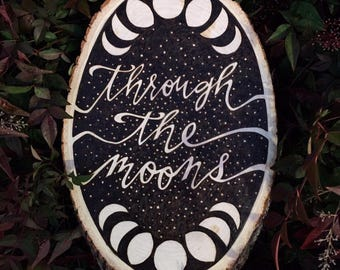 Through the Moons Basswood Woodburned Plaque