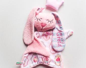 Personalized baby name sleep toy Plush cuddly baby bunny with long ears Cupcake nursery  Baby girl nursery gift Doudou