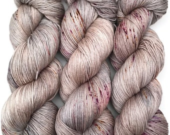 "Hand Dyed Yarn ""In the Gloaming"" Grey Tan Brown Gold Silver Purple Speckled Merino Silk Fingering Superwash 438yds 100g"