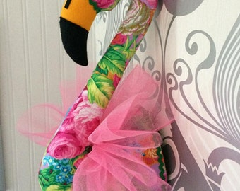 Flamingo Faux taxidermie hoofd muursteun