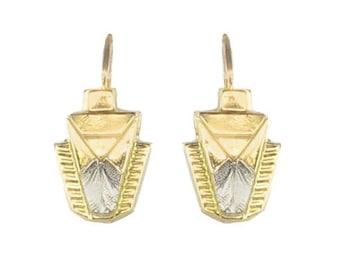 Art deco yellow white gold Stud Earrings
