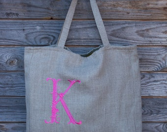 Monogrammed Tote Bag, Gray linen, Grocery Reusable Bag, Eco-friendly Natural Beach Tote Bag, Natural Linen, Personalized bag