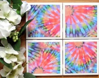 Tile Coasters - Ceramic Coasters - Ceramic Tile Coasters - Coaster Set - Table Coasters - Tie Dye Coasters - Coaster - Tile Coaster