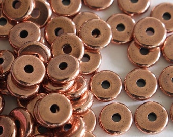 100 6mm Heishi Disks, TierraCast spacer beads, antique copper plate, small washers, 1.25mm hole, jewelry & earring supplies (100/pack) |i29|